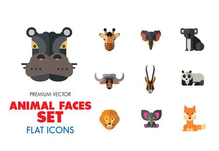 Animal Faces Icon Set. Lion Zebra Hippo Giraffe Wolf Elephant Antelope  Meerkat Doe Ox Red Lynx Bull Head Snout Muzzle Face
