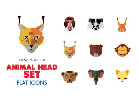 Animal head vector icon set. Cute wild cartoon animals, bear, monkey, lion, elephant, fox. Wildlife concept. Can be used for topics like mammals, zoo, safari, nature Stock Vector - 109189922