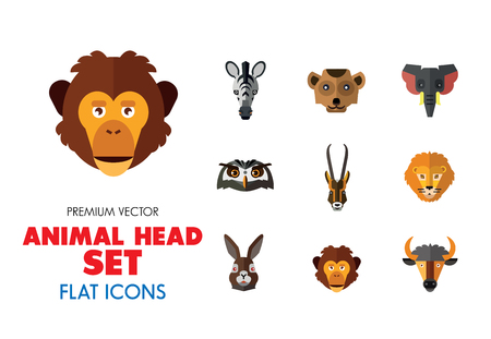 Jeu d'icônes vectorielles tête animale. Animaux de dessin animé sauvages mignons, ours, singe, lion, éléphant, renard. Concept de la faune. Peut être utilisé pour des sujets tels que les mammifères, le zoo, le safari, la nature Vecteurs
