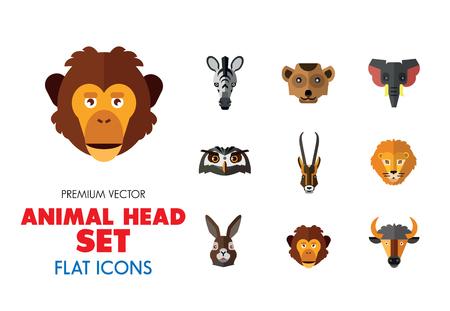 Tierkopfvektorsymbolsatz. Nette wilde Karikaturtiere, Bär, Affe, Löwe, Elefant, Fuchs. Wildlife-Konzept. Kann für Themen wie Säugetiere, Zoo, Safari, Natur verwendet werden Vektorgrafik