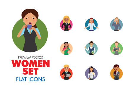 Women vector icon set. Doctor, excited, drinking, in glasses, Indian. Characters concept. Can be used for topics like occupation, race, activity, look, emotion