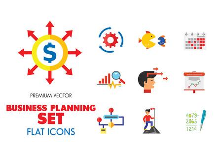 Business Planning Icon Set. Bericht Budget Commitment Leistung Leistung Selbstachtung Lösung Star Mitarbeiter Kampf Motivation Fusions- und Übernahmealgorithmus Vision Qualitätsmanagement