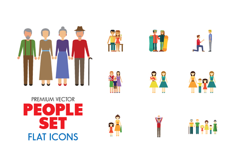 People vector icon set. Gay couple, dancing children, mother and daughter. Relationship concept. Can be used for topics like family, love, social equality, psychology