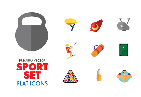 Sport vehicles icon set. Rugby ball, bike helmet, water skier. Activity concept. Can be used for topics like hobby, healthy lifestyle, sport outfit