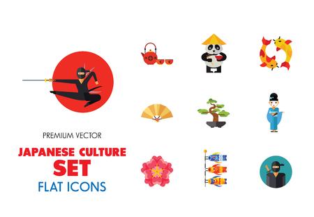 Japanese Culture Icon Set. Koi Fish Japanese Panda Bonsai Tree Japanese Tea Set Fan Koinobori Flag Ninja Noodles Japanese Hieroglyph Turtle Sumo Wrestler Yen Coin Sake Set