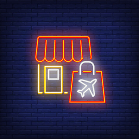 Shop neon sign. Glowing neon shop and shopping bag with illustration of plane on it. Night bright advertisement. Vector illustration in neon style for shopping area in airport. 일러스트