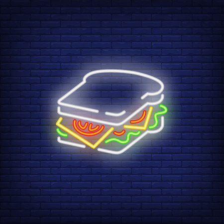 Square sandwich neon sign. Glowing sandwich banner in neon style. Food concept. Night bright advertisement. Vector illustration for night cafe or restaurant.