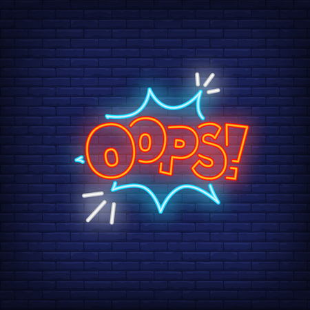 Neon OOPS sign. Glowing banner with OOPS inscription and cloud. Surprise concept. Vector illustration for games and advertisement