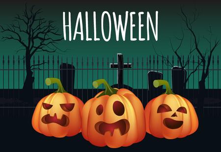 Diseño de banner de Halloween. Cementerio y calabazas aterradoras. La plantilla se puede utilizar para folletos, carteles, invitaciones. Ilustración de vector