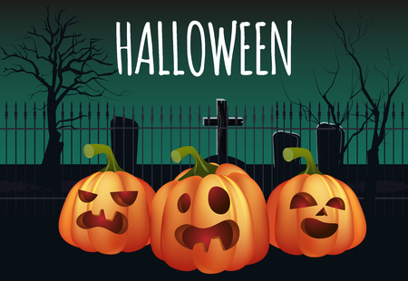 Halloween banner design. Graveyard and terrifying pumpkins. Template can be used for flyers, posters, invitations