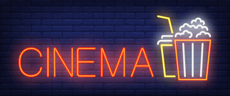 Cinema neon sign. Popcorn and coke on brick wall background. Vector illustration in neon style for movie watching and entertainment Ilustração