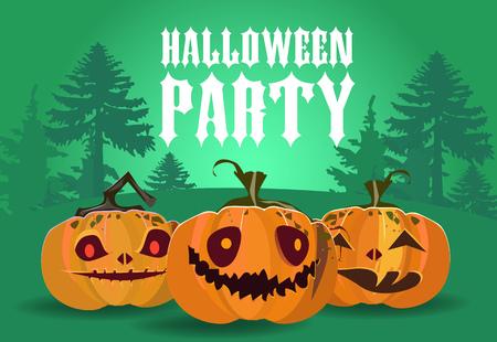 Diseño de banner de fiesta de Halloween. Calabazas talladas con silueta de bosque en fondo verde. La plantilla se puede utilizar para folletos, carteles, invitaciones.