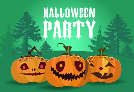 Halloween party banner design. Carved pumpkins with forest silhouette in green background. Template can be used for flyers, poster, invitations