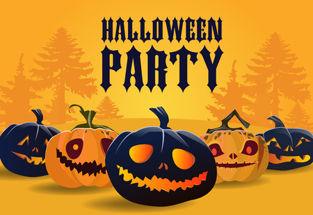 Halloween party banner design. Scary pumpkins with forest silhouette in orange background. Template can be used for flyers, posters, invitations