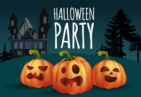 Halloween party banner design. Spooky pumpkins and house. Template can be used for flyers, posters, invitations