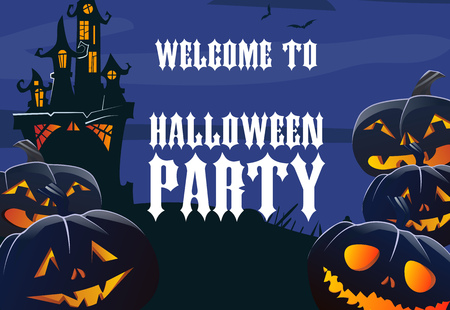 Halloween party poster template. Jack o lanterns and old castle silhouette. Design can be used for flyers, banners, invitations