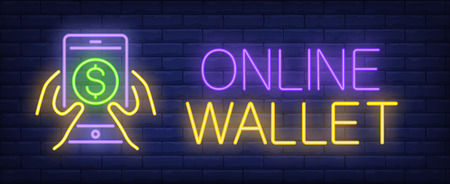 Online wallet neon sign. Hand holding smartphone with dollar symbol on screen. Online bank, e-money, online shopping. Night bright advertisement. Vector illustration for technology, internet, finance Иллюстрация