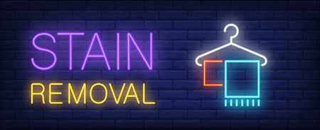 Stain removal neon sign. Hanger with towels. Laundry, cleaning service, dry cleaning. Night bright advertisement. Vector illustration in neon style for service, hygiene, housework