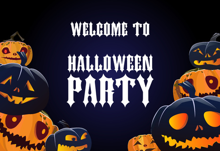 Halloween party invitation design. Spooky pumpkins on blue background. Template can be used for flyers, posters, announcement
