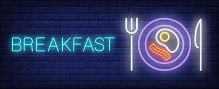 Breakfast neon sign. Ham and fried egg on plate. Night bright advertisement. Vector illustration in neon style for business breakfast, cafe, restaurant, hotel Ilustrace