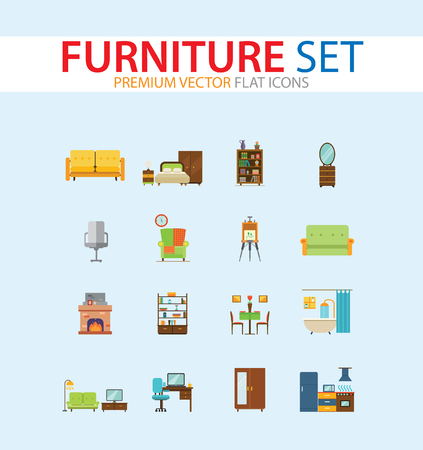 Furniture icon set. Bed, book shelve, bathtub, couch, living room. Housing concept. Can be used for topics like online store, apartment design, interior 向量圖像