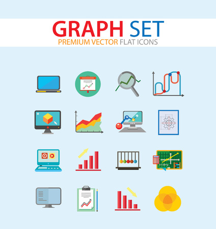 Graph Icon Set. Magnifier And Graph Growing Bar Chart Declining Bar Chart Venn Diagram Clipboard Flipchart With Graph Smart Board Histogram Line Graph Computer With Histogram Projection Screen Chart Illustration