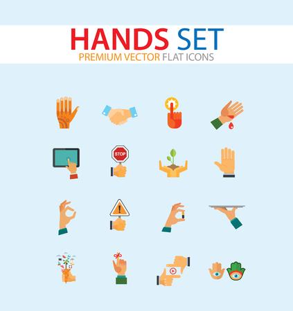 Jeu d'icônes de mains. Poignée de main, poing levé, café à emporter, lavage des mains. Concept de gestes. Peut être utilisé pour des sujets tels que la communication, la conception d'applications, les loisirs, le style de vie