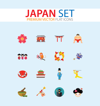 Japan Icon Set. Japanese Kite Japanese Cranes Torii Gate Bonsai Tree Koi Fish Japanese Ninja Sumo Wrestler Female Ninja Hamaya Arrow Geisha Japanese Lucky Cat Geisha Head Sakura Twig Illustration