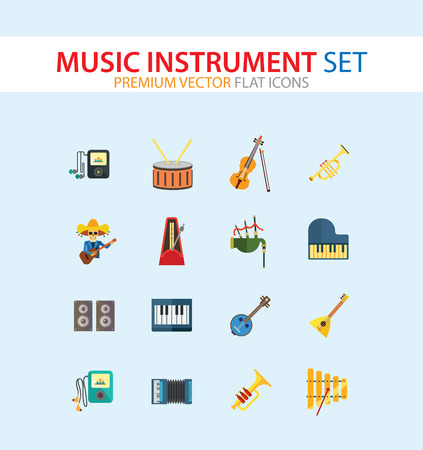 Music Instrument Icon Set. Drum And Drumsticks Balalaika Banjo Instrument Classic Accordion Violin And Bow Trumpet Xylophone Grand Piano Scottish Bagpipe Synthesizer Acoustic Speakers Illustration