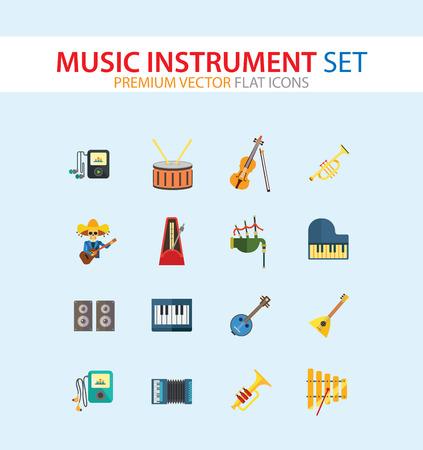 Musikinstrument Icon Set. Drum And Drumsticks Balalaika Banjo Instrument Klassisches Akkordeon Violine und Bogen Trompete Xylophon Flügel Scottish Bagpipe Synthesizer Akustische Lautsprecher