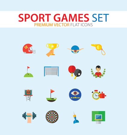Sport Games Icon Set. Champions Cup Table Tennis Swimming Sport Whistle Scoreboard Shuttlecock Golf Clubs Basketball Field Dart Basketball Hoop Football Gate Darts Target Golf