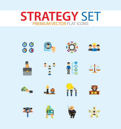 Strategie-Icon-Set. Teamstruktur Gemeinsame Idee Direktor Executive Manager Rich Person Team Zeitmanagement Herausforderung Boss Scales Strategisches Management Vision Teamleiter Vektorgrafik