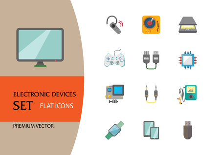 Electronic devices icon set. Smartphone, laptop, camera, printer, cpu, server. Information technology concept. Can be used for topics like hardware, smart technology, data communication