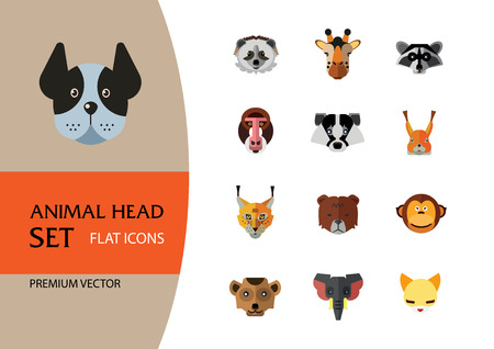 Animal head vector icon set. Cute wild cartoon animals, bear, monkey, lion, elephant, fox. Wildlife concept. Can be used for topics like mammals, zoo, safari, nature Stock Vector - 110139539