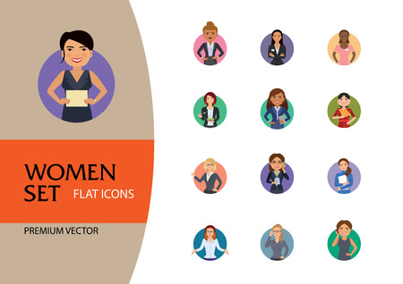 Women vector icon set. Doctor, excited, drinking, in glasses, Indian. Characters concept. Can be used for topics like occupation, race, activity, look, emotion Vector Illustration