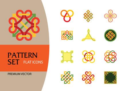 Conjunto de iconos de patrón. Hexágono Infinito Nudo tradicional Amuleto chino Redondo Creativo Patrón cuadrado Nudo eterno Elemento decorativo Símbolo auspicioso Nudo sin fin Ilustración de vector
