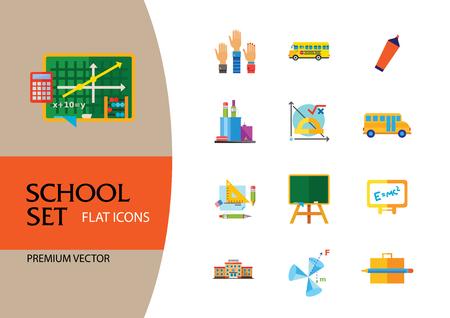 School Icon Set. School Pencil School Bus Pencil Stand Stationery Math Formula Knowledge Vitruvian Man Professor Lesson School Board Teacher Students Illustration
