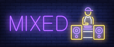 Mixed neon text with disk jockey and loud speakers. Modern music and party advertisement design. Night bright neon sign, colorful billboard, light banner. Vector illustration in neon style.