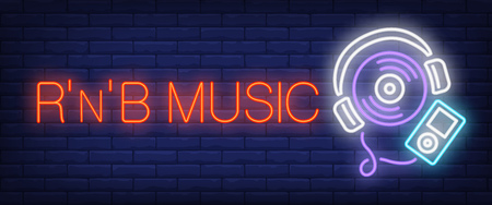 RNB music neon text with player. Modern music and youth culture advertisement design. Night bright neon sign, colorful billboard, light banner. Vector illustration in neon style. Ilustrace