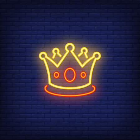 Crown neon sign. Glowing neon crown on dark blue brick background. Vector illustration can be used for  party, festivals, games