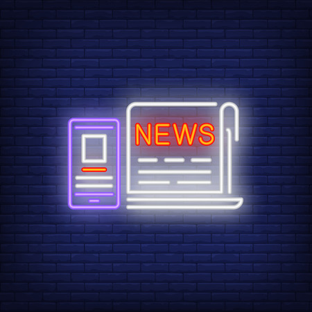 Laptop and smartphone with news neon sign. Glowing neon laptop and phone on dark blue brick background. Vector illustration for news, broadcasting, reporting