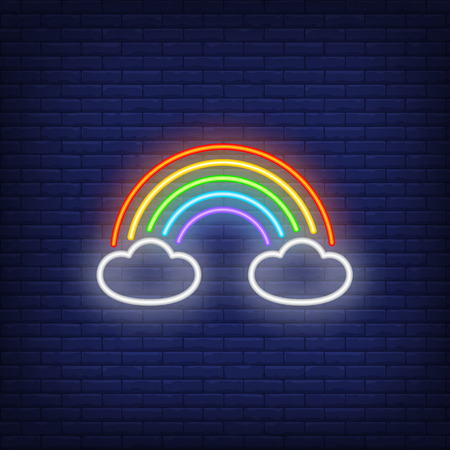 Rainbow neon sign. Glowing neon rainbow with clouds on dark blue brick background. Vector illustration can be used for  party, festivals, night club