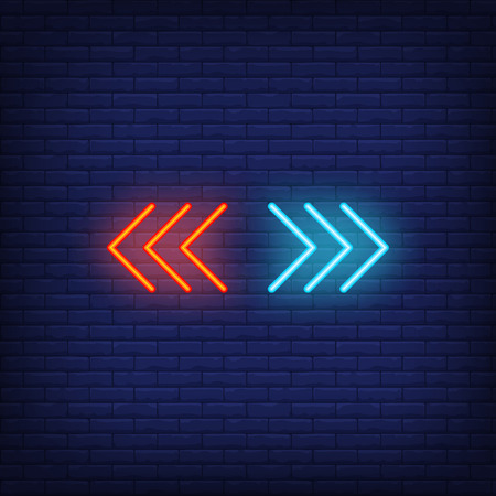 Red and blue neon sign. Glowing colorful neon pointer signs on dark brick background. Vector illustration for web, web applications