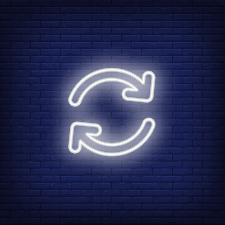 Reload neon sign. Glowing white arrows on dark blue brick background. Vector illustration for web, web pages, computer, programs