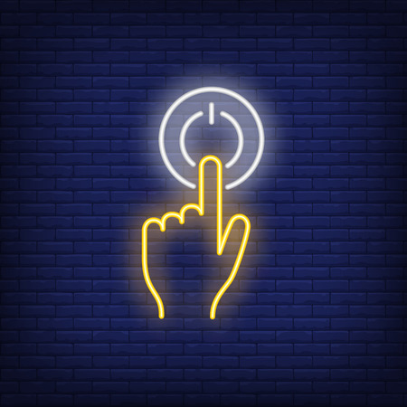 Pushing turn on button neon sign. Glowing pressing turn on neon button on dark blue brick background. Vector illustration for games, computer systems, technical equipment