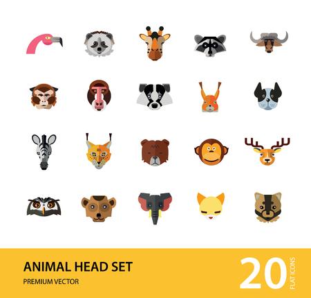 Animal head vector icon set. Cute wild cartoon animals, bear, monkey, lion, elephant, fox. Wildlife concept. Can be used for topics like mammals, zoo, safari, nature Stock Vector - 110575859