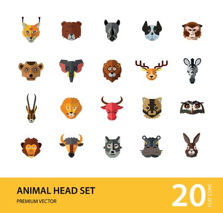Animal head vector icon set. Cute wild cartoon animals, bear, monkey, lion, elephant, fox. Wildlife concept. Can be used for topics like mammals, zoo, safari, nature