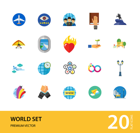 World Icon Set. Fairy Tales Infinity Sign Burning Heart Air Show Plane Window Hand Holding Plant Internet World Time Oath Struggle Virtual Team Quality Management
