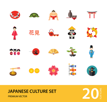 Japanese Culture Icon Set. Koi Fish Japanese Panda Bonsai Tree Japanese Tea Set Fan Koinobori Flag Ninja Noodles Japanese Hieroglyph Turtle Sumo Wrestler Yen Coin Sake Set
