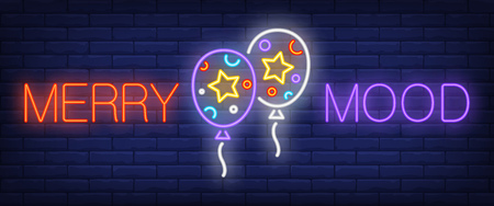 Merry mood neon sign. Two balloons on brick background. Party, festival, fun. Night bright advertisement. Vector illustration in neon style for entertainment, celebration, holiday Illustration
